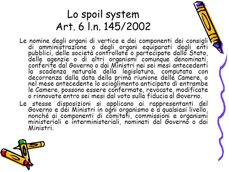 Lo spoil system Art. 6 l.n. 145/2002 Le nomine degli organi di vertice e dei componenti dei consigli di amministrazione o degli organi equiparati degl
