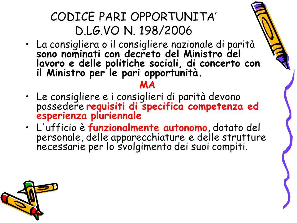 CODICE PARI OPPORTUNITA' D.LG.VO N. 198/2006 La consigliera o il consigliere nazionale di parità sono nominati con decreto del Ministro del lavoro e d