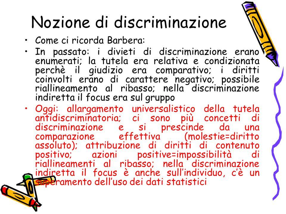 Nozione di discriminazione Come ci ricorda Barbera: In passato: i divieti di discriminazione erano enumerati; la tutela era relativa e condizionata pe