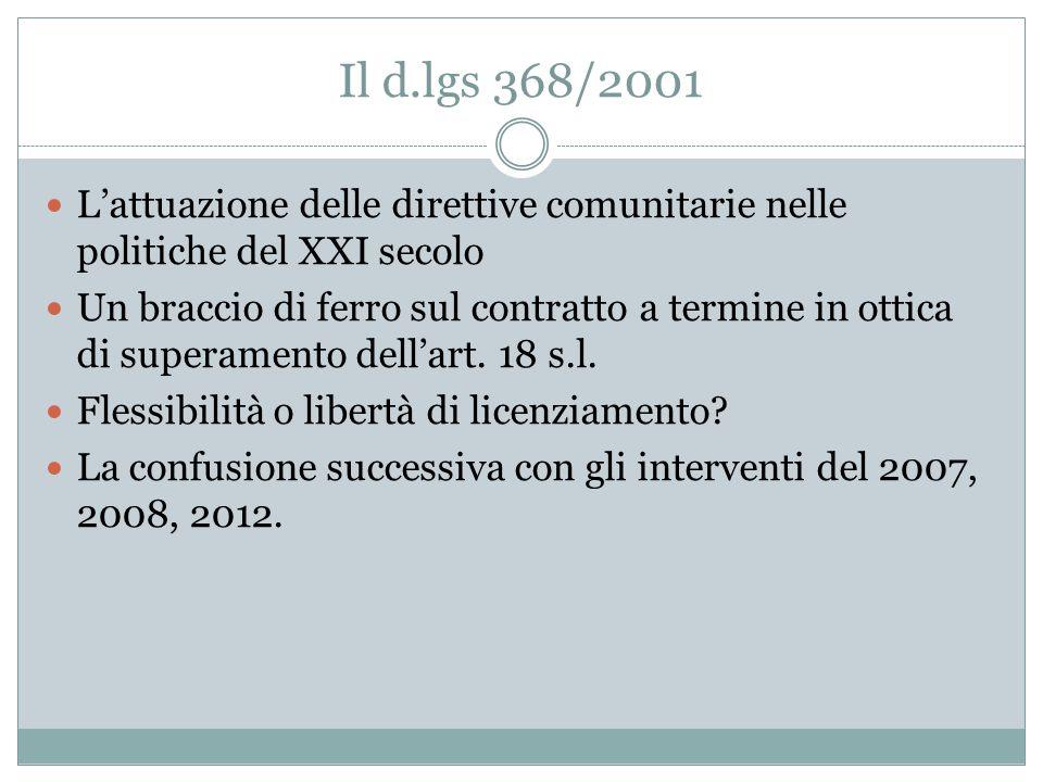 Dal 1987 al 2001 La legge 196/1997  La flessibilità del contratto a termine  La limitazione temporale dei contratti a termine in ottica di flessibil