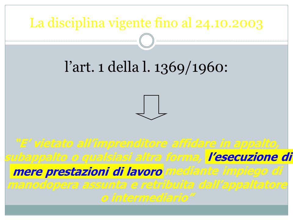La disciplina normativa dell'interposizione nei rapporti di lavoro Fino al 24 ottobre 2003 Dopo il 24 ottobre 2003 Il Titolo III della riforma (sommin