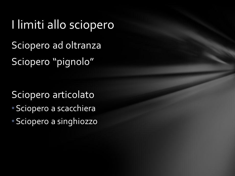 """Sciopero ad oltranza Sciopero """"pignolo"""" Sciopero articolato Sciopero a scacchiera Sciopero a singhiozzo I limiti allo sciopero"""