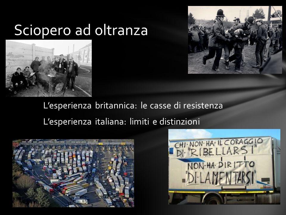 L'esperienza britannica: le casse di resistenza L'esperienza italiana: limiti e distinzioni Sciopero ad oltranza