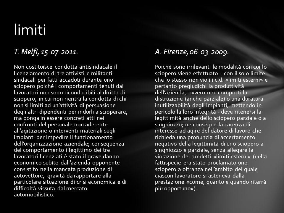 T. Melfi, 15-07-2011.A. Firenze, 06-03-2009. Poiché sono irrilevanti le modalità con cui lo sciopero viene effettuato - con il solo limite che lo stes