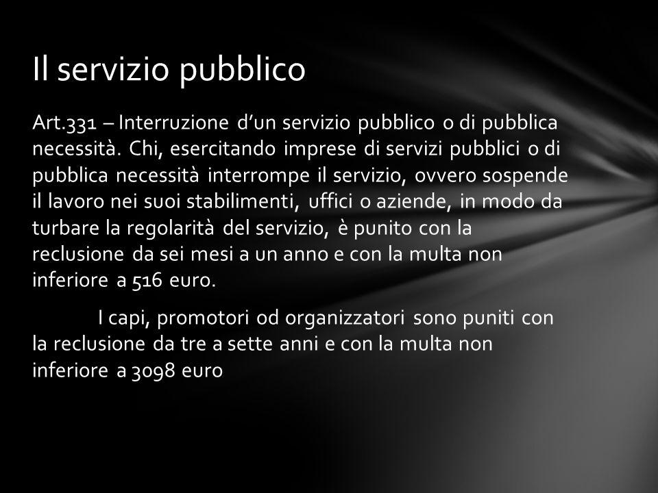 Art.331 – Interruzione d'un servizio pubblico o di pubblica necessità. Chi, esercitando imprese di servizi pubblici o di pubblica necessità interrompe