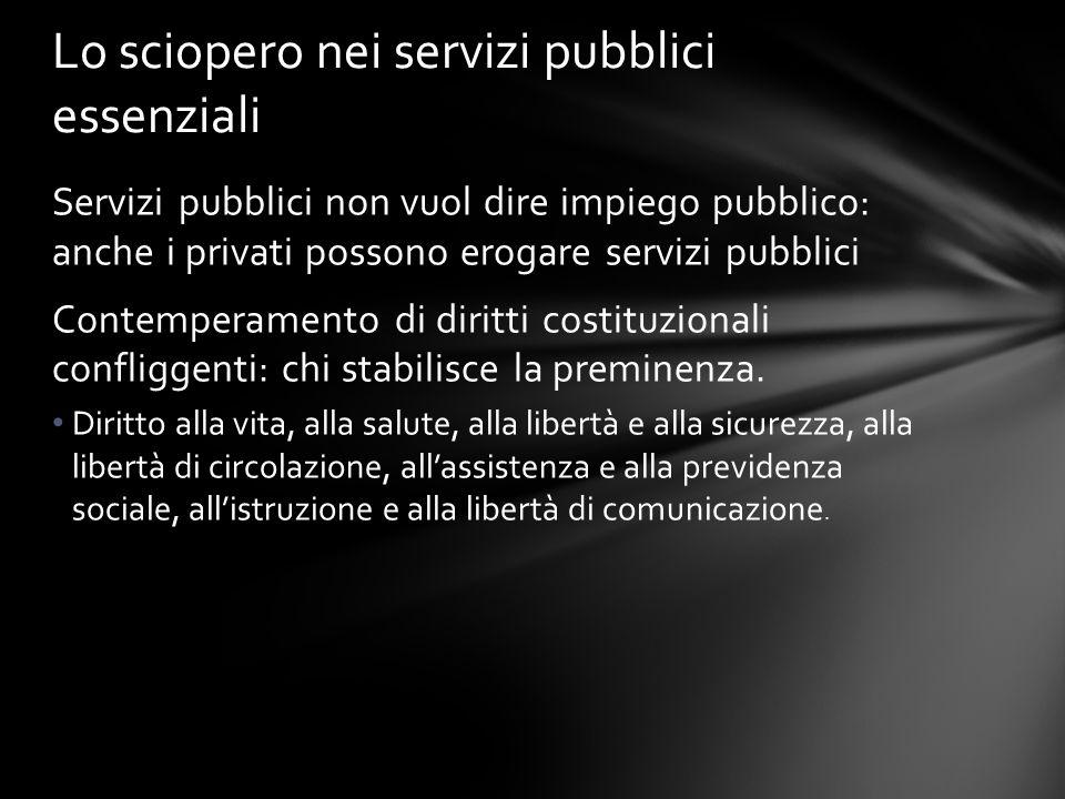 Servizi pubblici non vuol dire impiego pubblico: anche i privati possono erogare servizi pubblici Contemperamento di diritti costituzionali confliggen