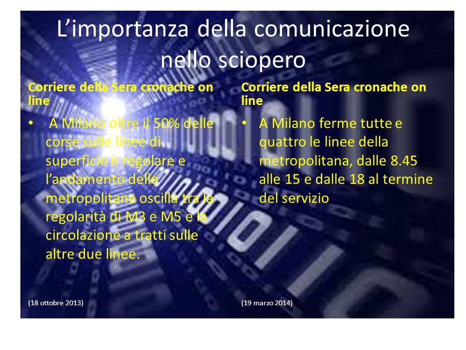 L'importanza della comunicazione nello sciopero Corriere della Sera cronache on line A Milano oltre il 50% delle corse sulle linee di superficie è reg