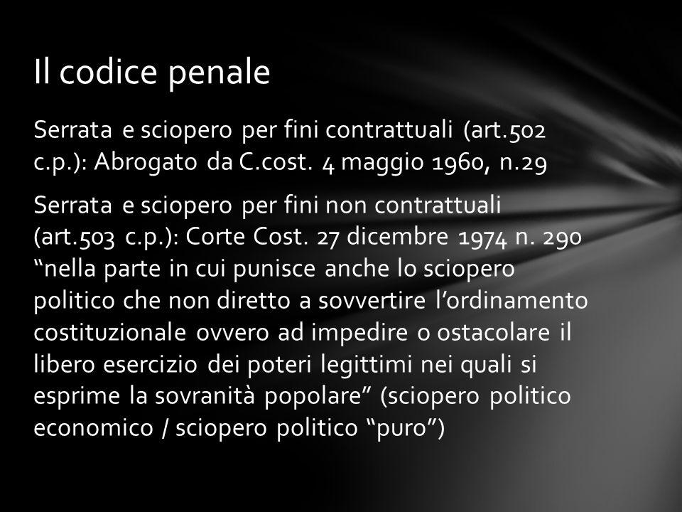 Serrata e sciopero per fini contrattuali (art.502 c.p.): Abrogato da C.cost. 4 maggio 1960, n.29 Serrata e sciopero per fini non contrattuali (art.503