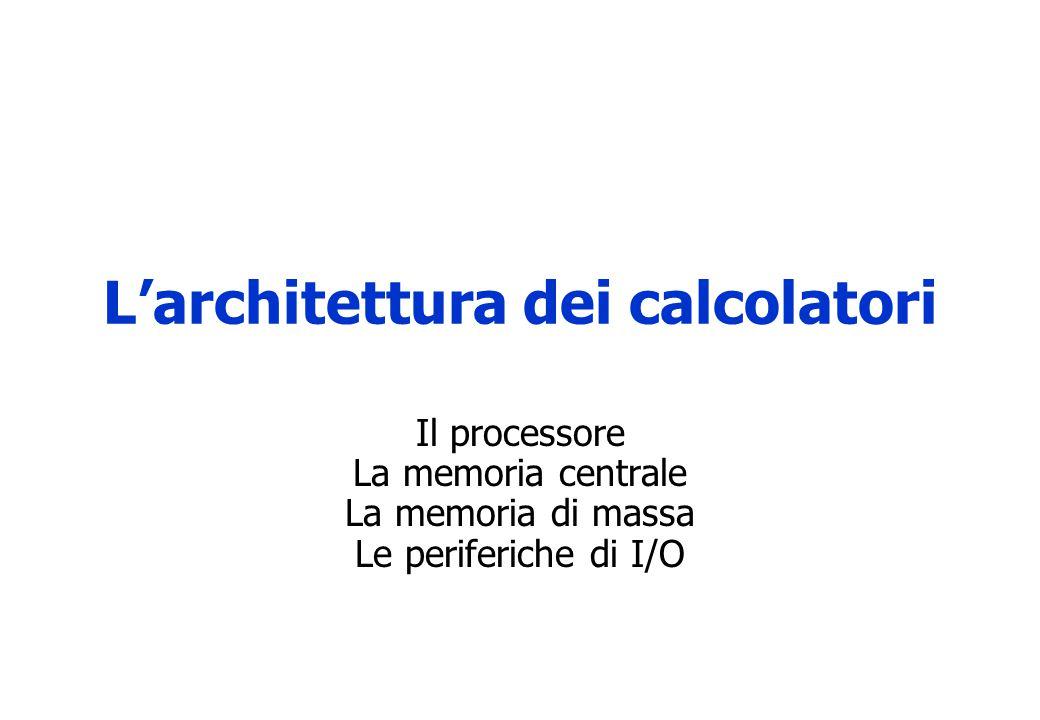 L'architettura dei calcolatori Il processore La memoria centrale La memoria di massa Le periferiche di I/O