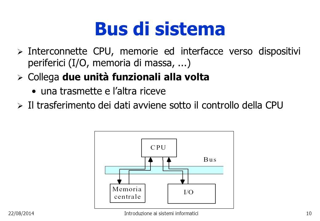 22/08/2014Introduzione ai sistemi informatici10 Bus di sistema  Interconnette CPU, memorie ed interfacce verso dispositivi periferici (I/O, memoria d