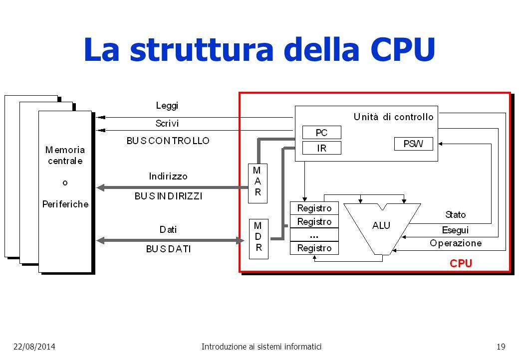 22/08/2014Introduzione ai sistemi informatici19 La struttura della CPU