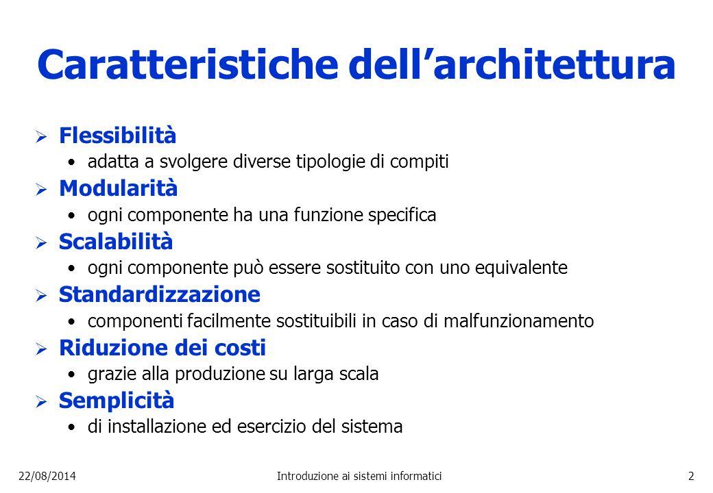 22/08/2014Introduzione ai sistemi informatici2 Caratteristiche dell'architettura  Flessibilità adatta a svolgere diverse tipologie di compiti  Modul