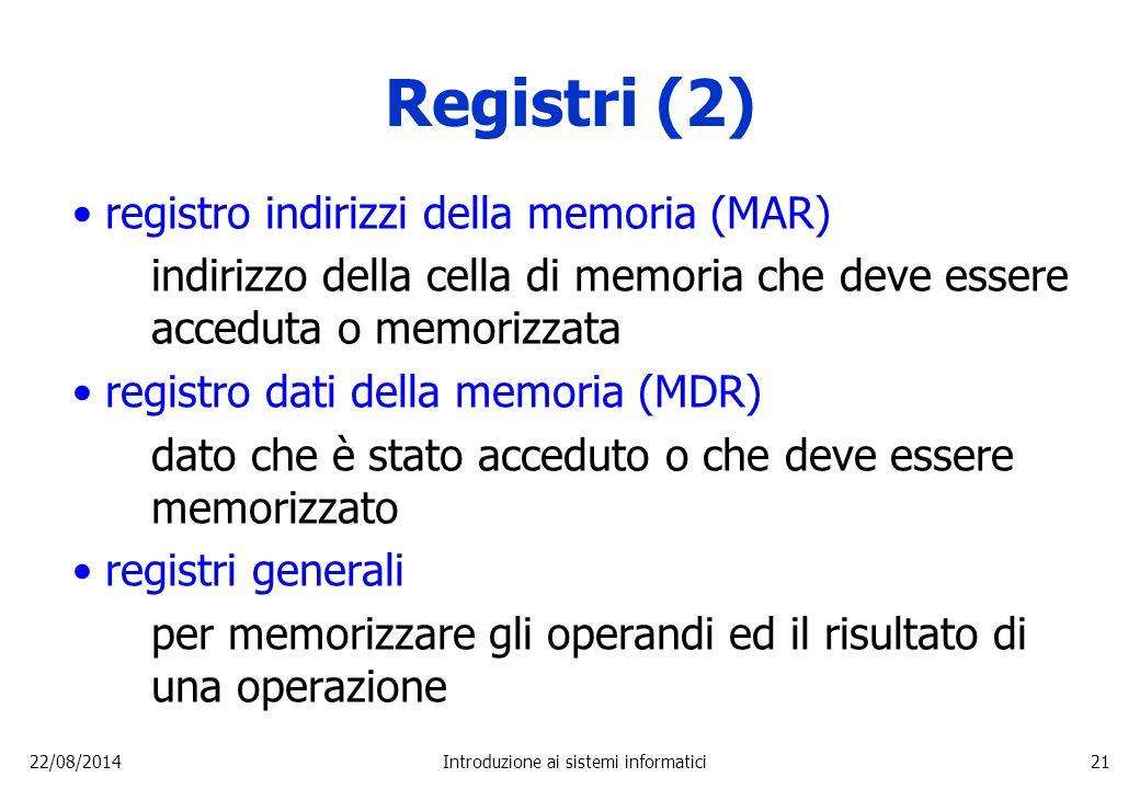 22/08/2014Introduzione ai sistemi informatici21 Registri (2) registro indirizzi della memoria (MAR) indirizzo della cella di memoria che deve essere a