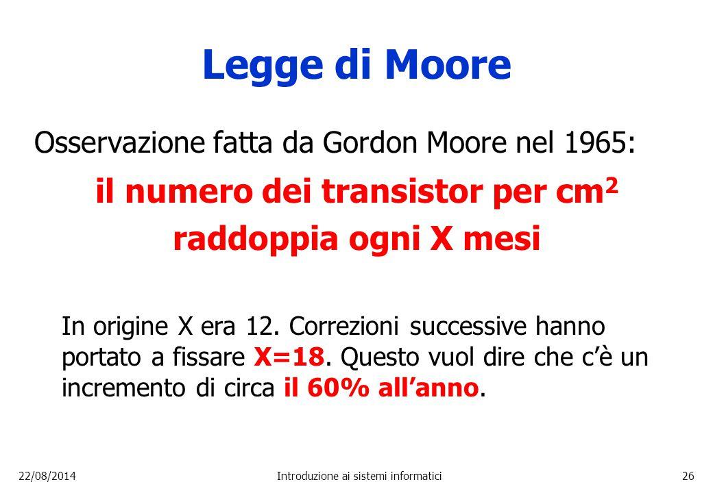 22/08/2014Introduzione ai sistemi informatici26 Legge di Moore Osservazione fatta da Gordon Moore nel 1965: il numero dei transistor per cm 2 raddoppi