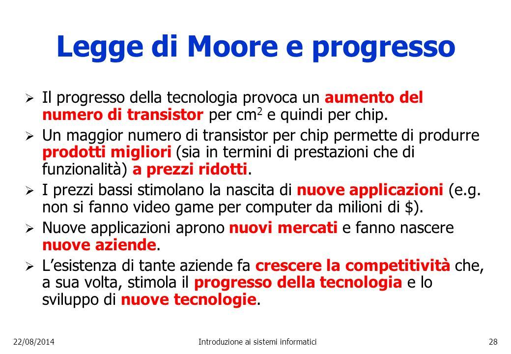 22/08/2014Introduzione ai sistemi informatici28 Legge di Moore e progresso  Il progresso della tecnologia provoca un aumento del numero di transistor