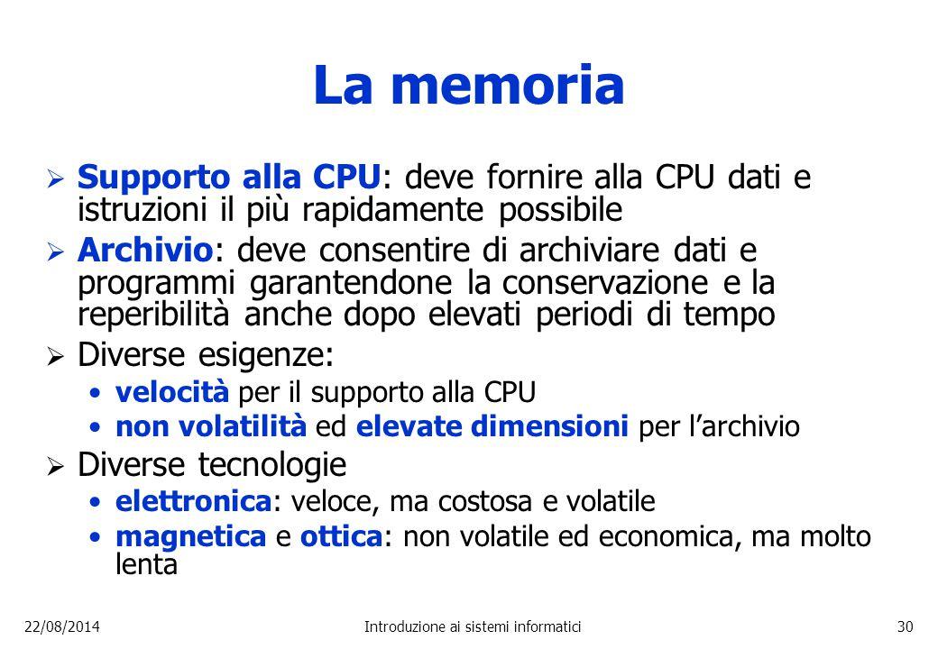 22/08/2014Introduzione ai sistemi informatici30 La memoria  Supporto alla CPU: deve fornire alla CPU dati e istruzioni il più rapidamente possibile 