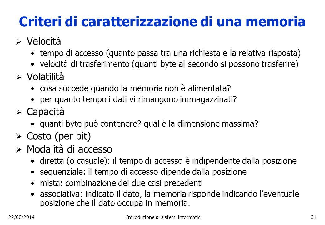 22/08/2014Introduzione ai sistemi informatici31 Criteri di caratterizzazione di una memoria  Velocità tempo di accesso (quanto passa tra una richiest