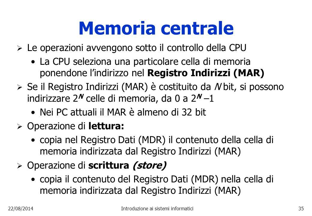 22/08/2014Introduzione ai sistemi informatici35 Memoria centrale  Le operazioni avvengono sotto il controllo della CPU La CPU seleziona una particola
