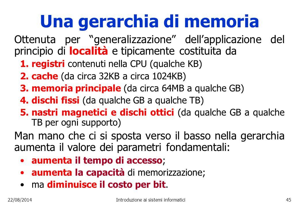 """22/08/2014Introduzione ai sistemi informatici45 Una gerarchia di memoria Ottenuta per """"generalizzazione"""" dell'applicazione del principio di località e"""