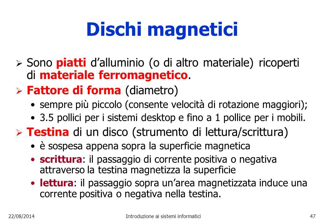 22/08/2014Introduzione ai sistemi informatici47 Dischi magnetici  Sono piatti d'alluminio (o di altro materiale) ricoperti di materiale ferromagnetic