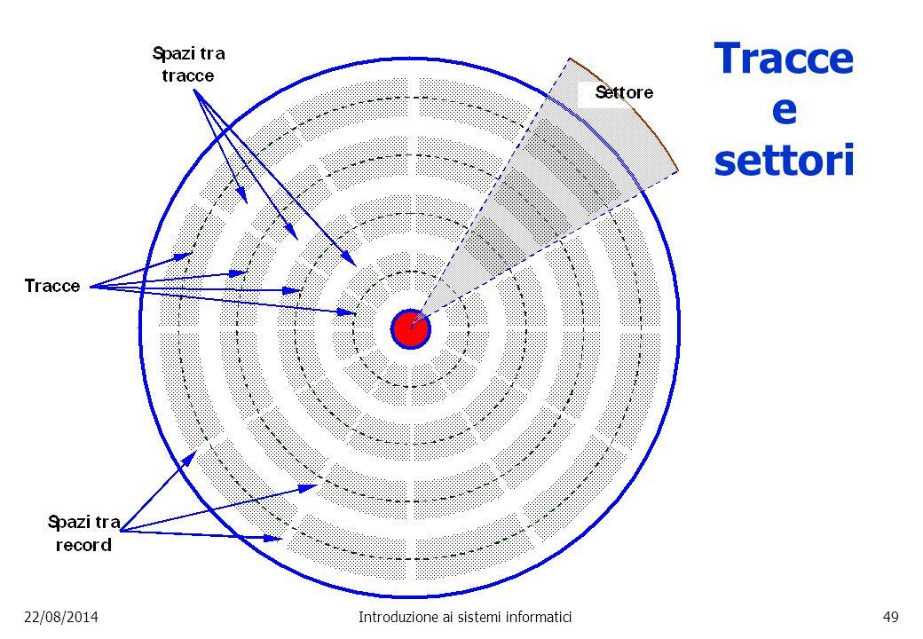 22/08/2014Introduzione ai sistemi informatici49 Tracce e settori