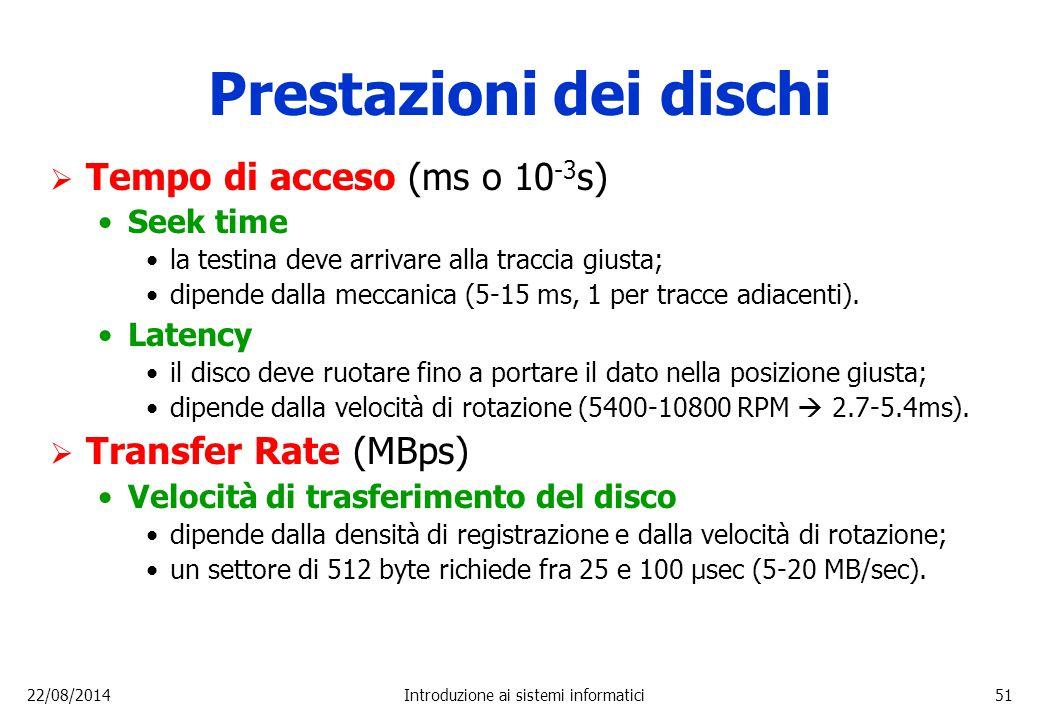 22/08/2014Introduzione ai sistemi informatici51 Prestazioni dei dischi  Tempo di acceso (ms o 10 -3 s) Seek time la testina deve arrivare alla tracci