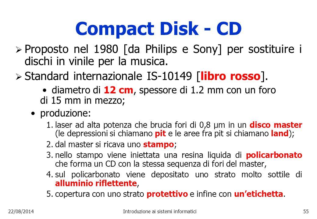 22/08/2014Introduzione ai sistemi informatici55 Compact Disk - CD  Proposto nel 1980 [da Philips e Sony] per sostituire i dischi in vinile per la mus