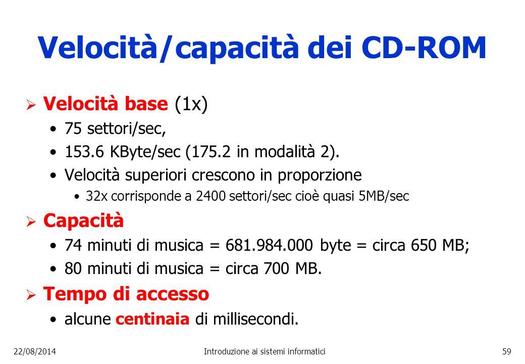 22/08/2014Introduzione ai sistemi informatici59 Velocità/capacità dei CD-ROM  Velocità base (1x) 75 settori/sec, 153.6 KByte/sec (175.2 in modalità 2