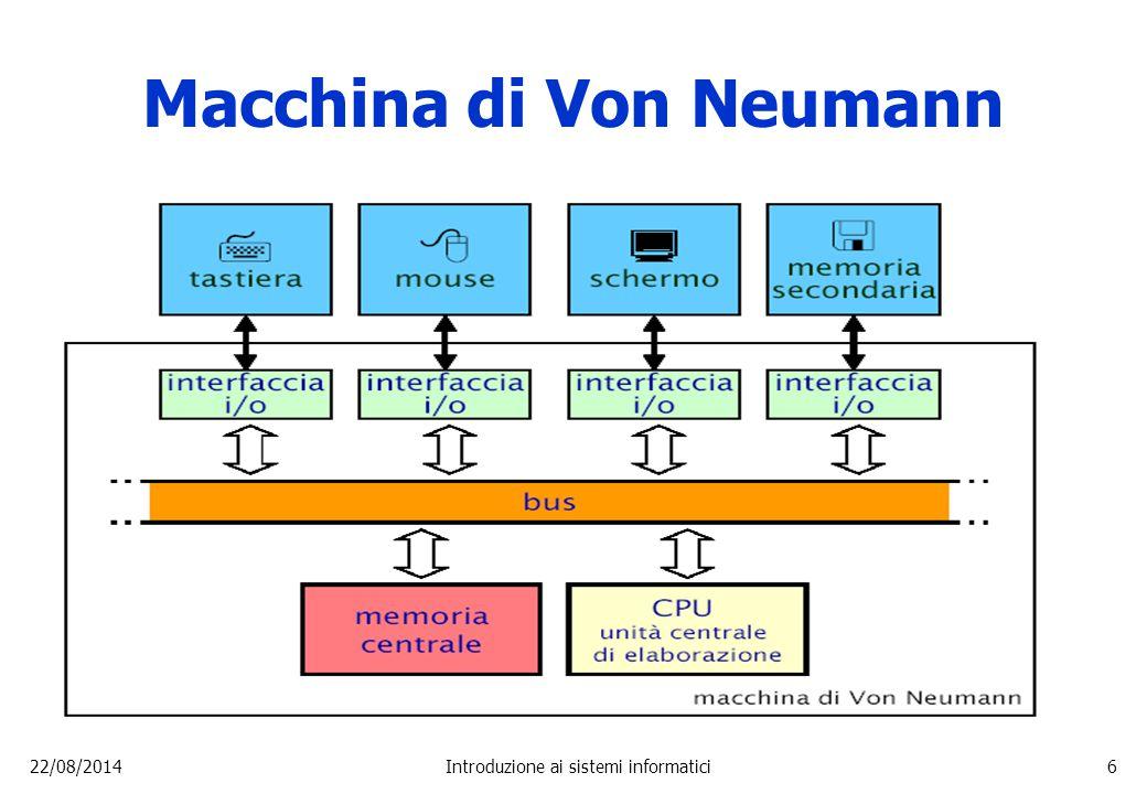 22/08/2014Introduzione ai sistemi informatici17 Elementi di una CPU  Unità di controllo Svolge funzioni di controllo, decide quali istruzioni eseguire.