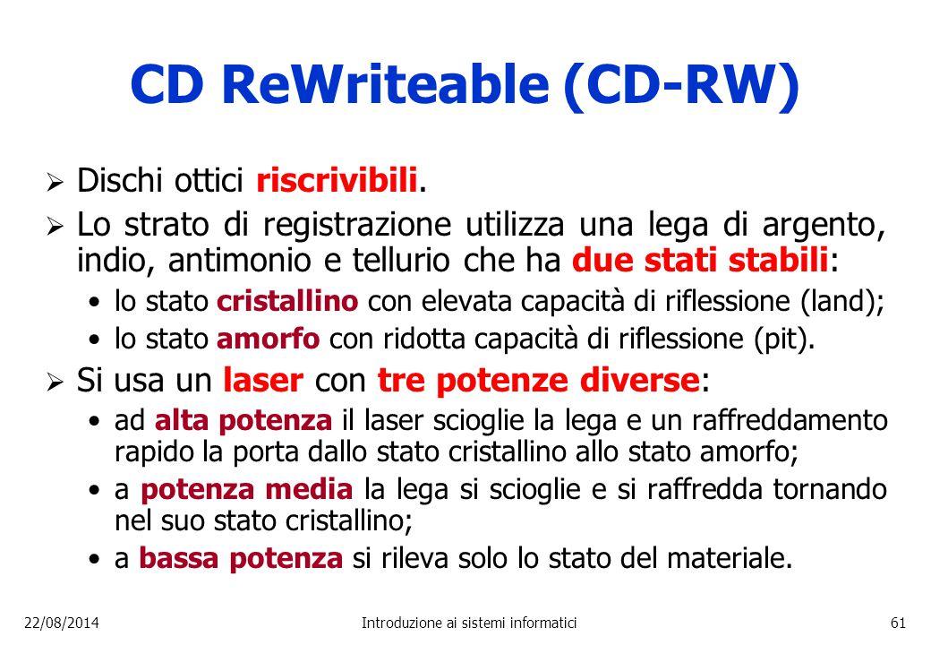 22/08/2014Introduzione ai sistemi informatici61 CD ReWriteable (CD-RW)  Dischi ottici riscrivibili.  Lo strato di registrazione utilizza una lega di