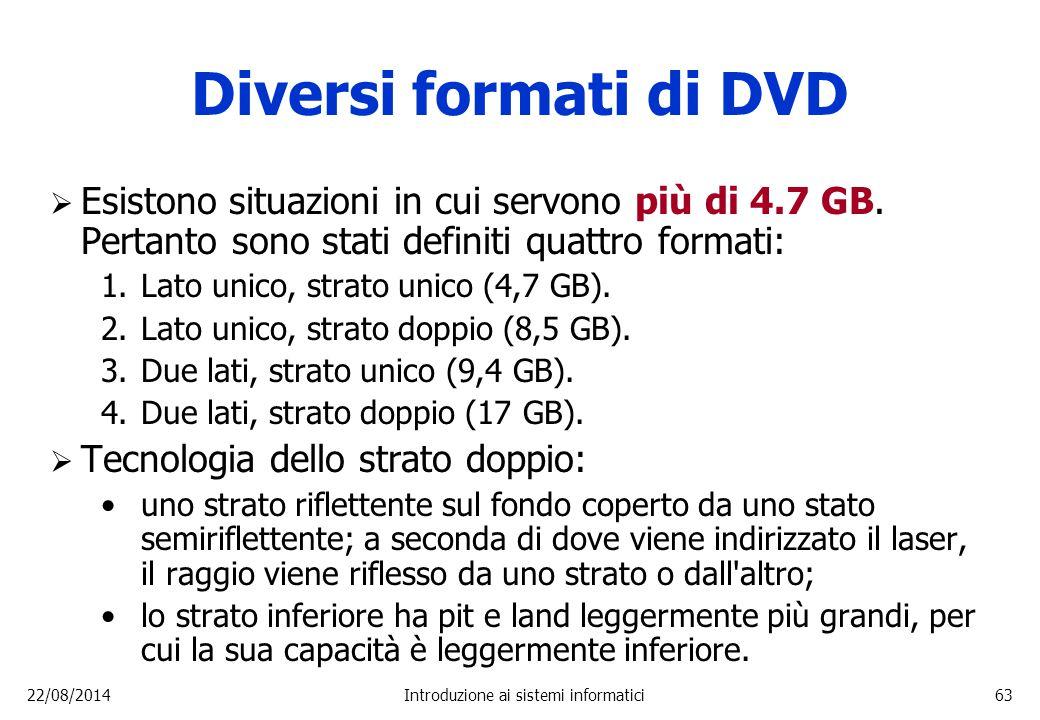 22/08/2014Introduzione ai sistemi informatici63 Diversi formati di DVD  Esistono situazioni in cui servono più di 4.7 GB. Pertanto sono stati definit