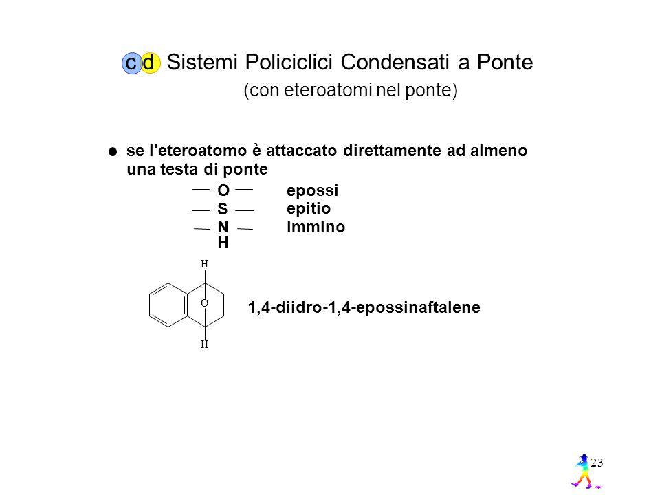 23 se l eteroatomo è attaccato direttamente ad almeno una testa di ponte O S N epossi epitio immino H O H H 1,4-diidro-1,4-epossinaftalene c d Sistemi Policiclici Condensati a Ponte (con eteroatomi nel ponte)