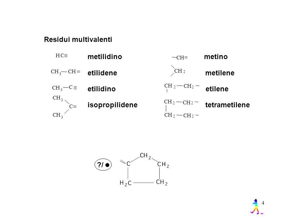 4 Residui multivalenti HC CH 3 C CCH 3 CH 3 CH 3 C metilidino metino etilidene metilene etilidino etilene isopropilidene tetrametilene H C CH 2 CH CH CH 2 CH 2 22 CH 2 CH 2 H ?/