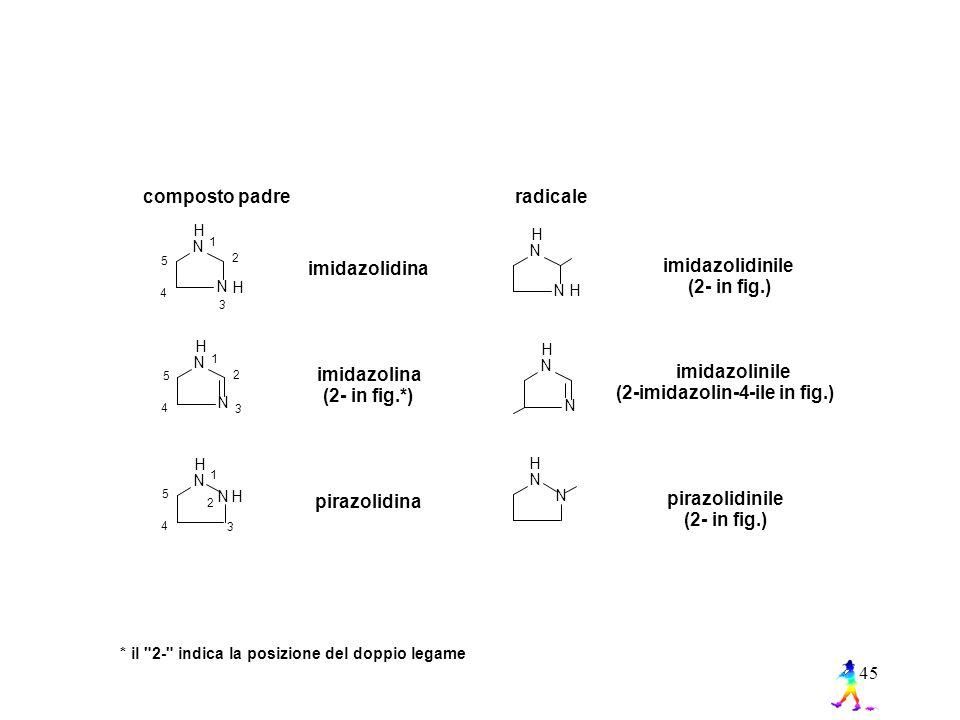 45 composto padre radicale * il 2- indica la posizione del doppio legame imidazolidinile (2- in fig.) imidazolinile (2-imidazolin-4-ile in fig.) 1 2 3 4 5 H N N 1 2 3 4 5 H N N H H N NH H N N imidazolidina imidazolina (2- in fig.*) pirazolidinile (2- in fig.) pirazolidina 1 2 3 4 5 H N NH H N N