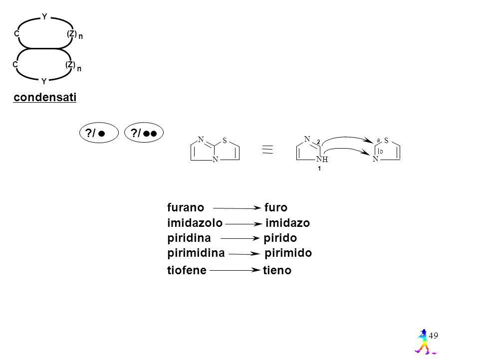 49 ?/ H N NN S a b 1 2 N S N tiofene tieno imidazolo imidazo furano furo piridina pirido pirimidina pirimido n C (Z) Y Y n condensati
