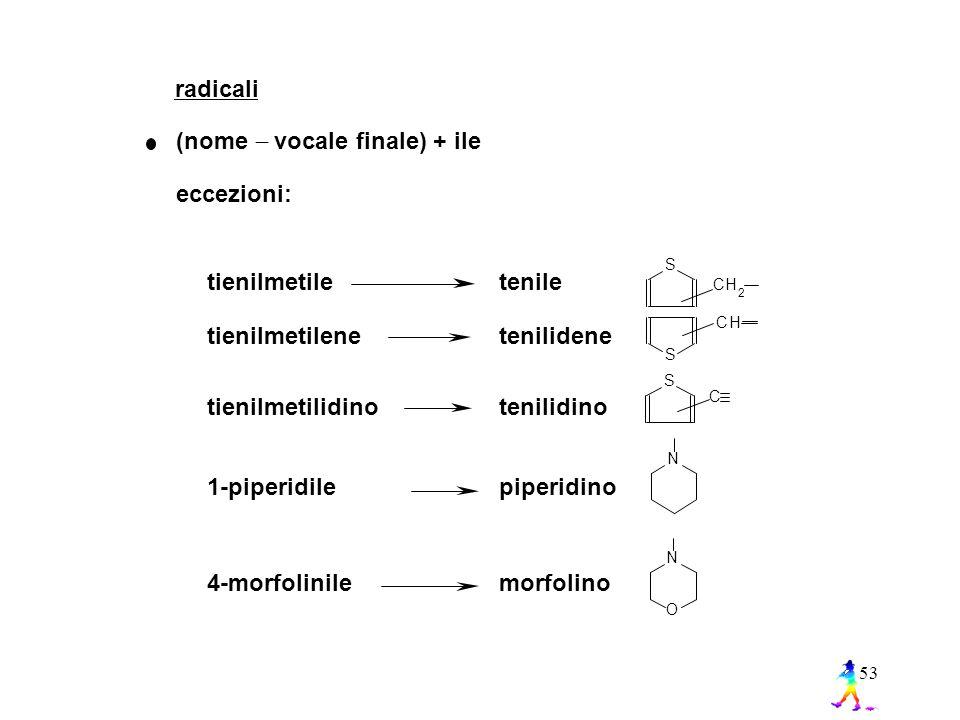 53 radicali (nome  vocale finale) + ile eccezioni: tienilmetile tienilmetilene tienilmetilidino 1-piperidile 4-morfolinile tenile tenilidene tenilidino piperidino morfolino S S CH 2 CH S C NN O