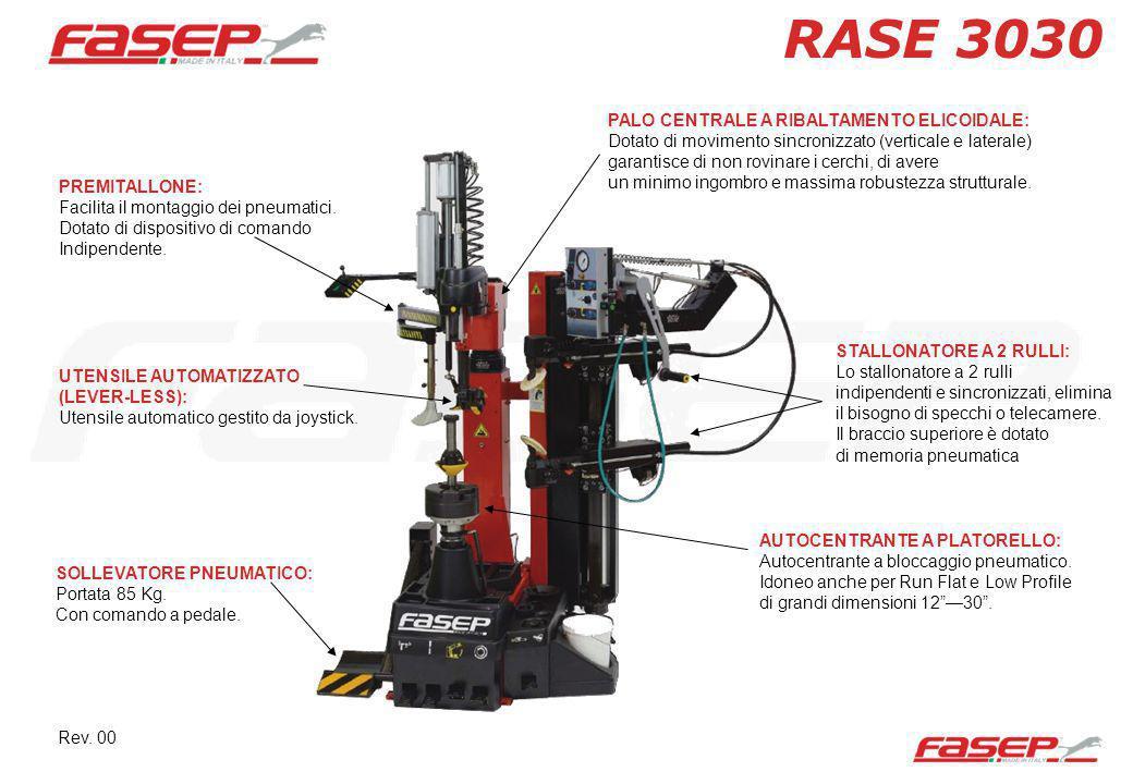 RASE 3030 PREMITALLONE: Facilita il montaggio dei pneumatici. Dotato di dispositivo di comando Indipendente. SOLLEVATORE PNEUMATICO: Portata 85 Kg. Co