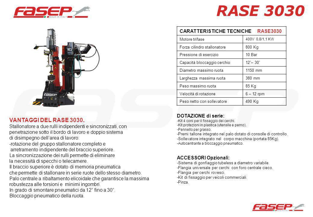 CARATTERISTICHE TECNICHE RASE3030 Motore trifase 400V 0,8/1,1 KW Forza cilindro stallonatore800 Kg Pressione di esercizio10 Bar Capacità bloccaggio ce
