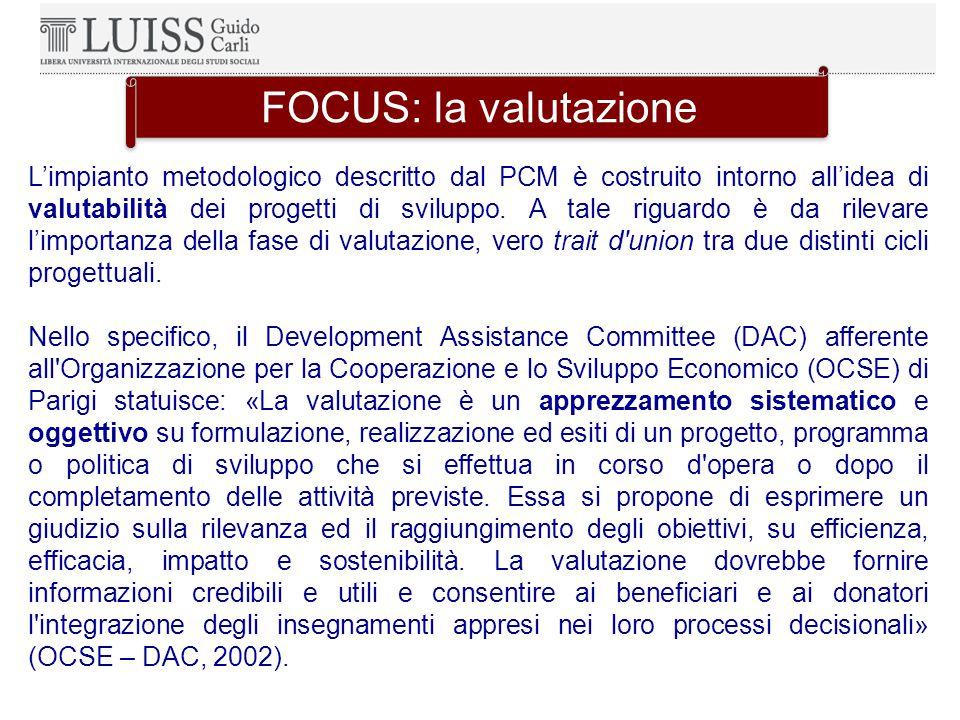 L'impianto metodologico descritto dal PCM è costruito intorno all'idea di valutabilità dei progetti di sviluppo.
