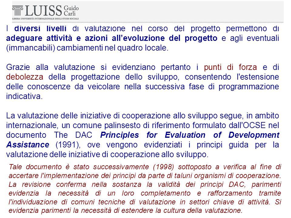 I diversi livelli di valutazione nel corso del progetto permettono di adeguare attività e azioni all'evoluzione del progetto e agli eventuali (immancabili) cambiamenti nel quadro locale.