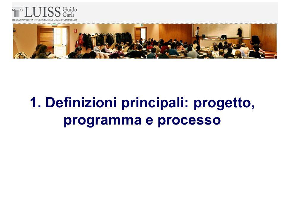 Prima di affrontare più nel dettaglio le fasi in cui si articola il ciclo del progetto, chiariamo con alcune definizioni che cosa si intenda per progetto, programma e processo.