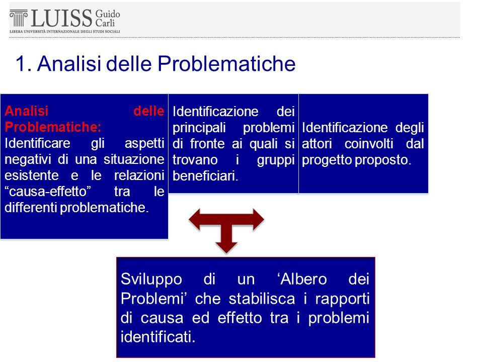 Sviluppo di un 'Albero dei Problemi' che stabilisca i rapporti di causa ed effetto tra i problemi identificati.