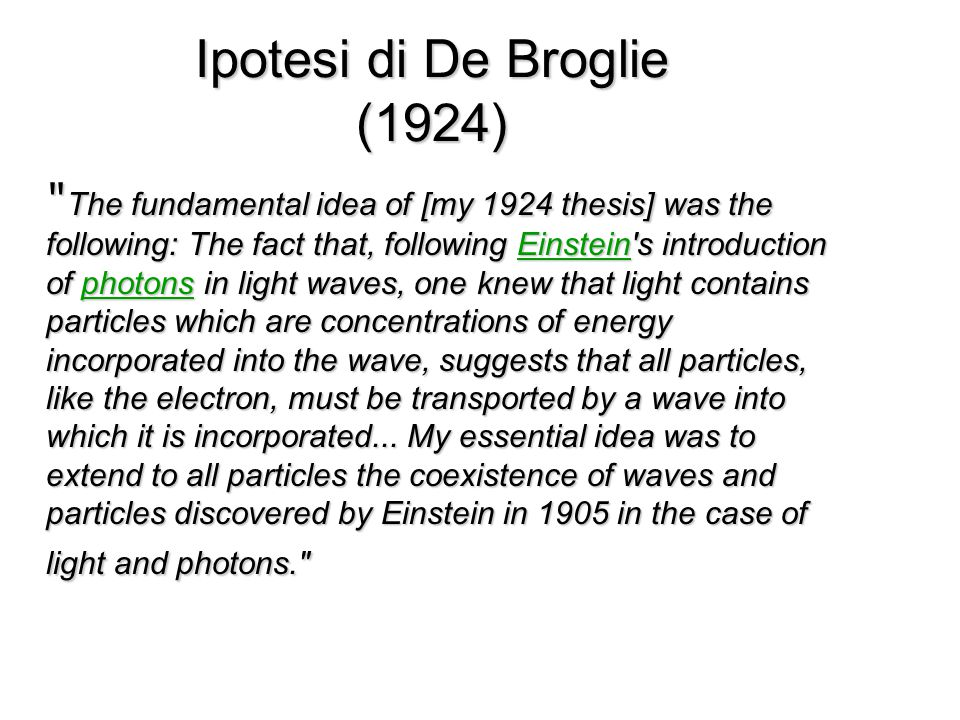 Ipotesi di De Broglie (1924) The fundamental idea of [my 1924 thesis] was the following: The fact that, following Einstein s introduction of photons in light waves, one knew that light contains particles which are concentrations of energy incorporated into the wave, suggests that all particles, like the electron, must be transported by a wave into which it is incorporated...