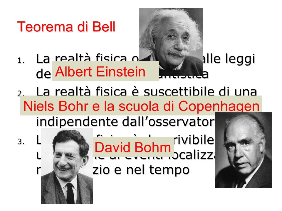 Teorema di Bell 1. La realtà fisica obbedisce alle leggi della meccanica quantistica 2. La realtà fisica è suscettibile di una descrizione oggettiva,