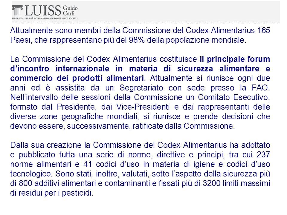 Attualmente sono membri della Commissione del Codex Alimentarius 165 Paesi, che rappresentano più del 98% della popolazione mondiale.