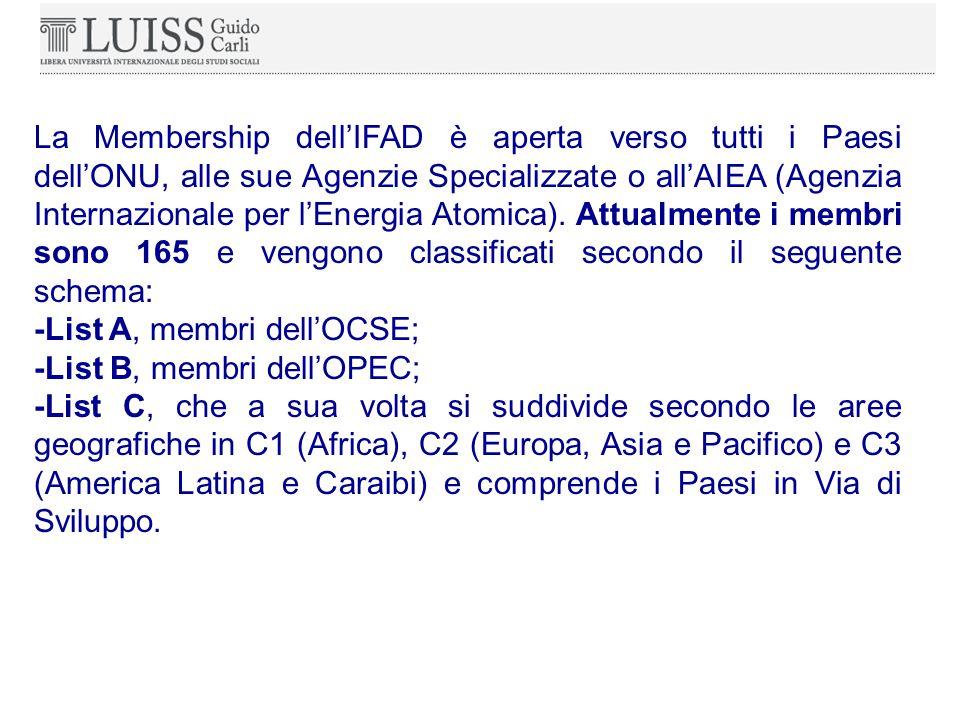 La Membership dell'IFAD è aperta verso tutti i Paesi dell'ONU, alle sue Agenzie Specializzate o all'AIEA (Agenzia Internazionale per l'Energia Atomica).