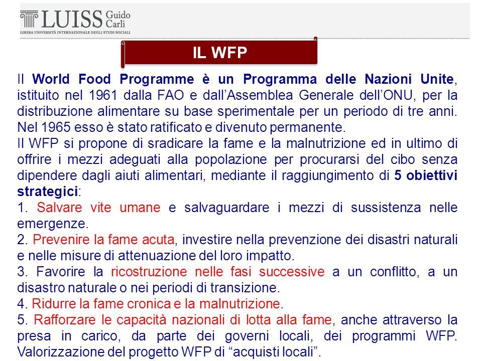 Il World Food Programme è un Programma delle Nazioni Unite, istituito nel 1961 dalla FAO e dall'Assemblea Generale dell'ONU, per la distribuzione alimentare su base sperimentale per un periodo di tre anni.