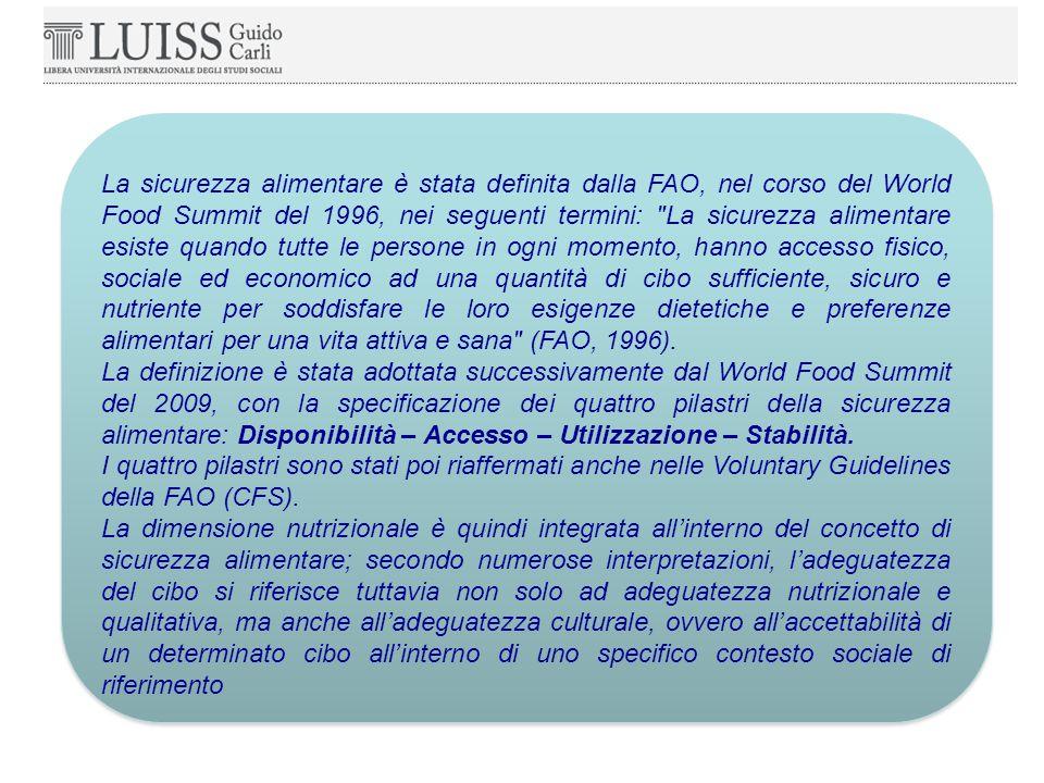 La sicurezza alimentare è stata definita dalla FAO, nel corso del World Food Summit del 1996, nei seguenti termini: La sicurezza alimentare esiste quando tutte le persone in ogni momento, hanno accesso fisico, sociale ed economico ad una quantità di cibo sufficiente, sicuro e nutriente per soddisfare le loro esigenze dietetiche e preferenze alimentari per una vita attiva e sana (FAO, 1996).