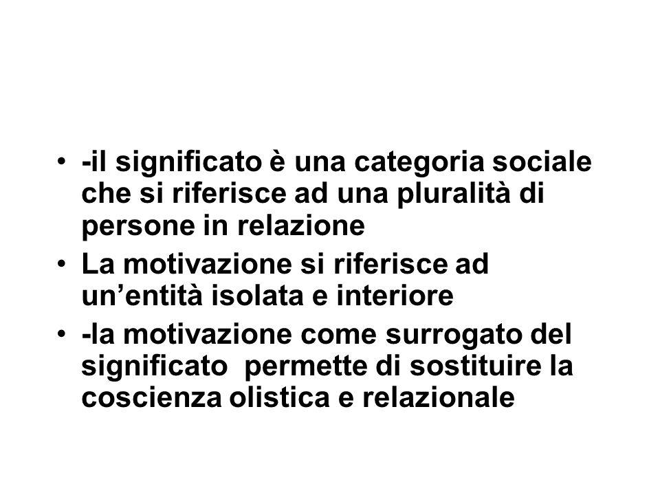 -il significato è una categoria sociale che si riferisce ad una pluralità di persone in relazione La motivazione si riferisce ad un'entità isolata e i