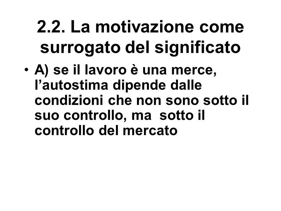 2.2. La motivazione come surrogato del significato A) se il lavoro è una merce, l'autostima dipende dalle condizioni che non sono sotto il suo control